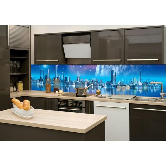 Küchenrückwand Glas - Futuristische Stadt | dimex-line.de