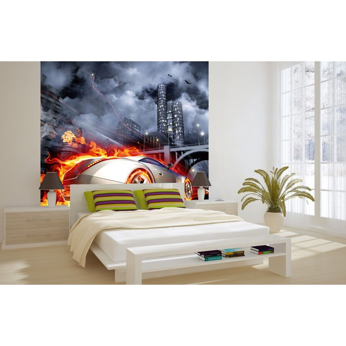 vlies fototapete auto in flammen 220 x 220 cm dimex. Black Bedroom Furniture Sets. Home Design Ideas