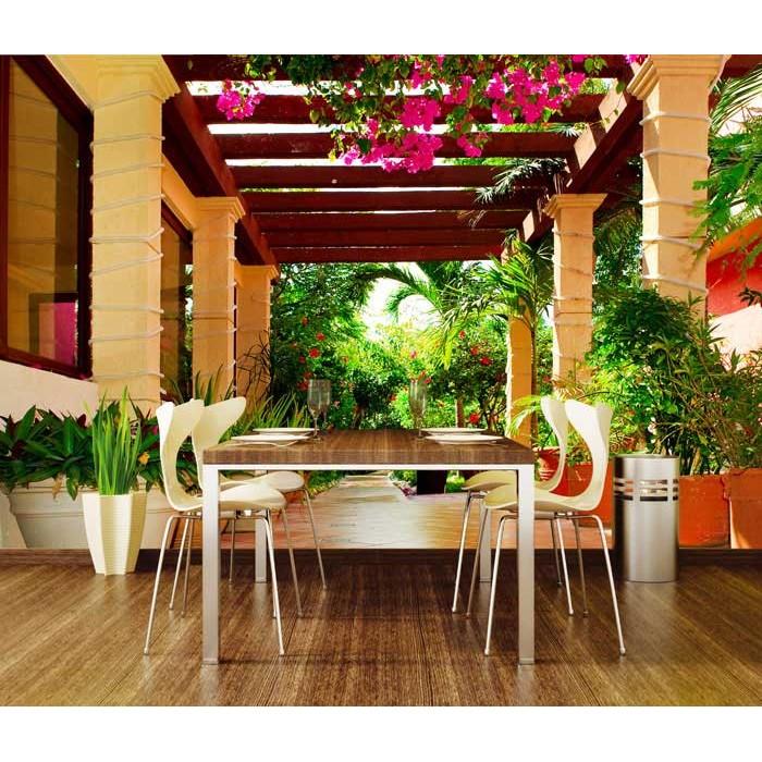 vlies fototapete terrasse mit blumen 330 x 220 cm dimex. Black Bedroom Furniture Sets. Home Design Ideas
