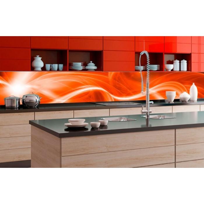 Kuchenruckwand Folie Abstrakte Malerei In Orange 350 X 60 Cm