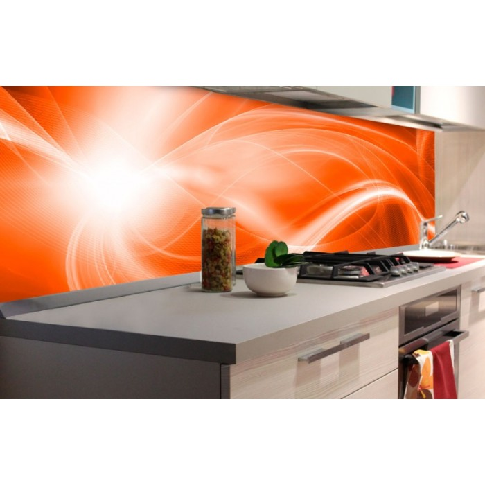 Kuchenruckwand Folie Abstrakte Malerei In Orange 180 X 60 Cm
