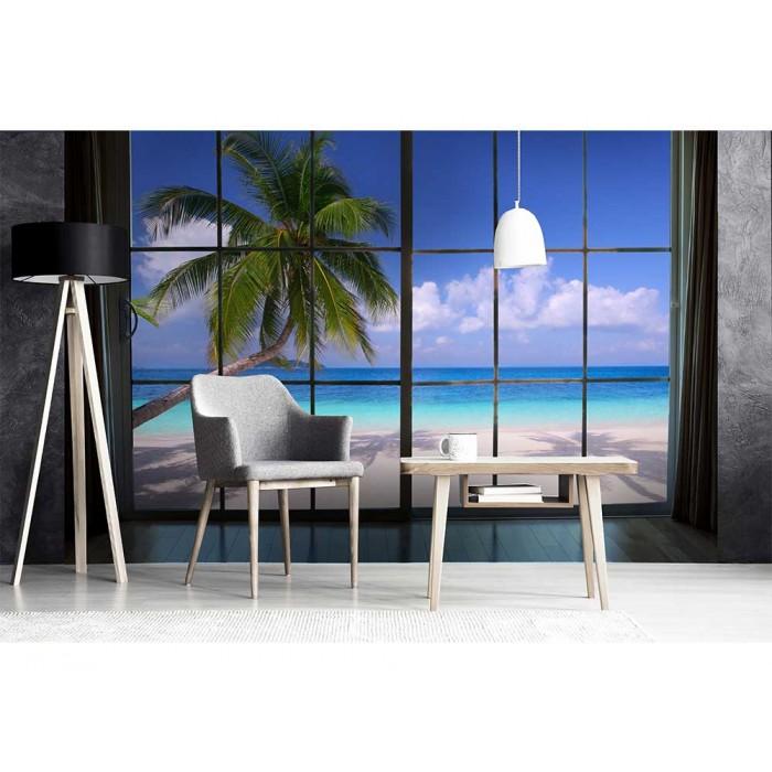 Vlies Fototapete Strand Hinterm Fenster 375 X 250 Cm Dimex Line De