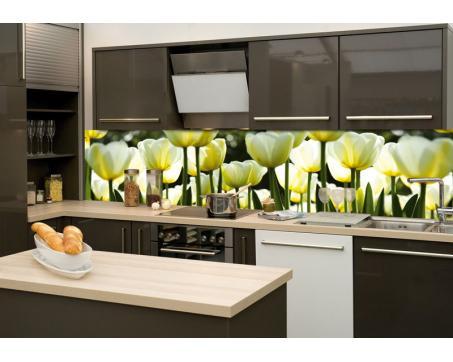 K chenr ckwand folie wei e tulpen 260 x 60 cm dimex for Kuchenruckwand folie