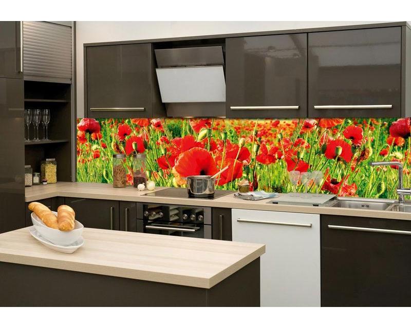 Küchenrückwand Folie - Rote Mohnblumen 260 X 60 Cm