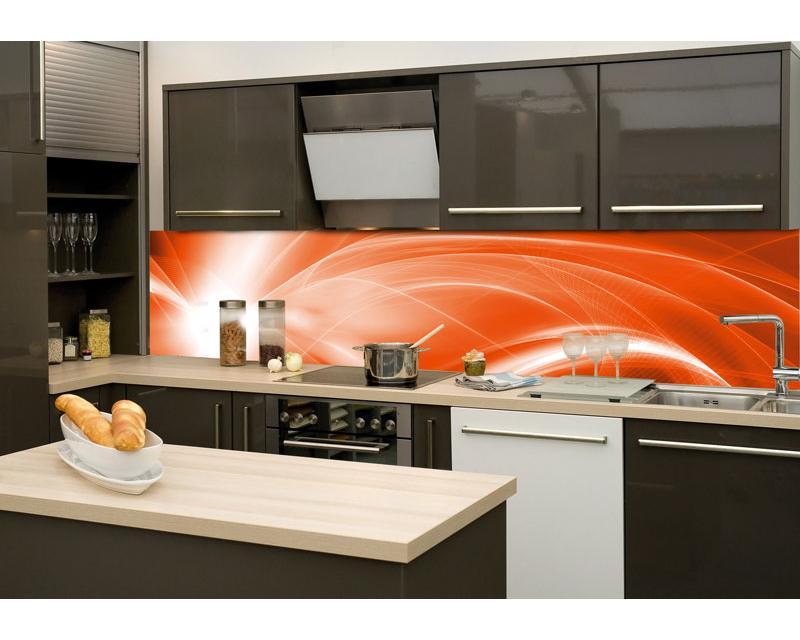 Kuchenruckwand Folie Abstrakte Malerei In Orange 260 X 60 Cm