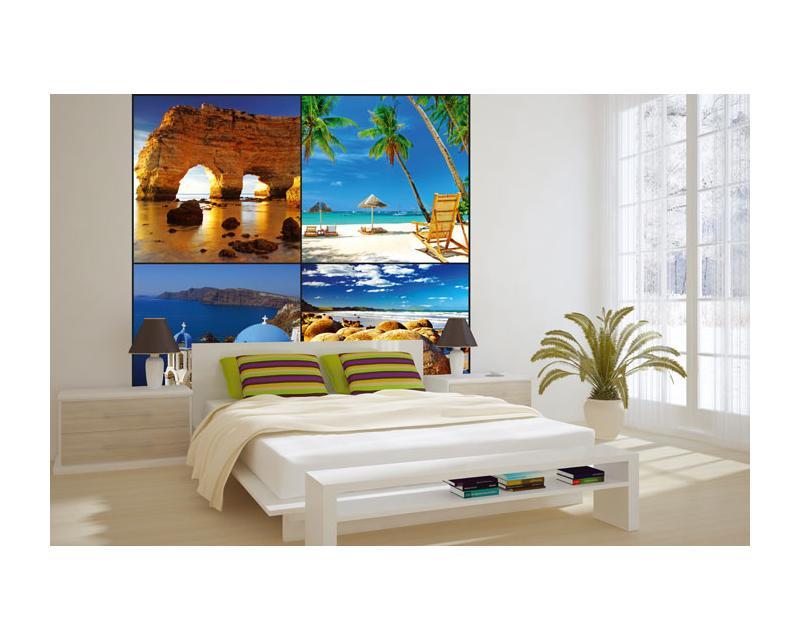 Vlies Fototapete - Strand Collage 220 x 220 cm | dimex-line.de