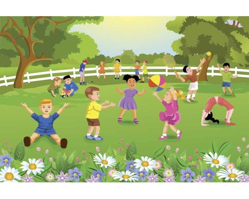 Vlies Fototapete - Kinder im Garten 375 x 250 cm | dimex-line.de