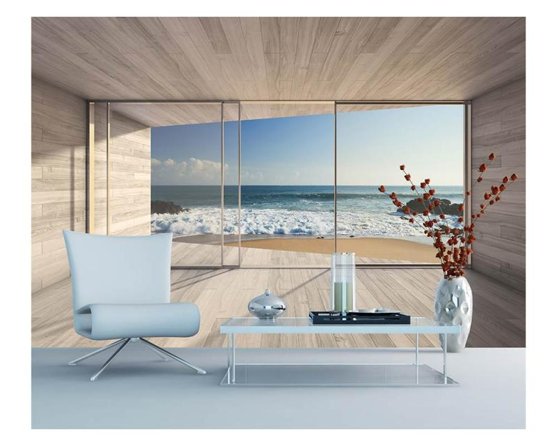 Vlies Fototapete Fenster Auf Strand 375 X 250 Cm Dimex Line De