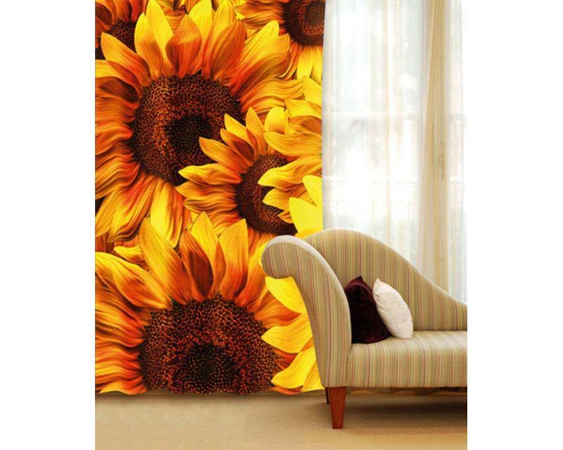 Vorhang - Sonnenblumen 140 x 245 cm   dimex-line.de